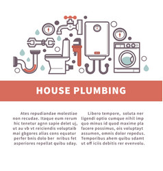 House bathroom and kitchen plumbing poster vector