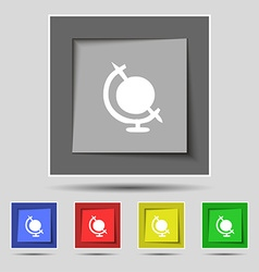 Icon world sign on original five colored buttons vector