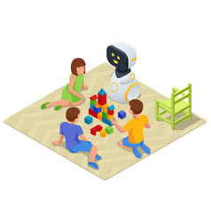 Isometric robot baby sitter playing cubes vector