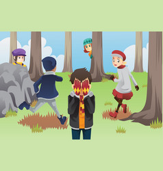 Kids playing hide and seek vector