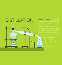 Lab distillation concept banner flat style vector