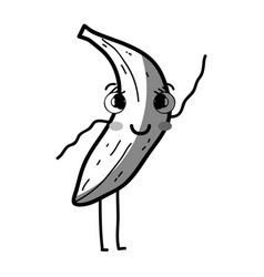 line kawaii cute happy banana fruit vector image