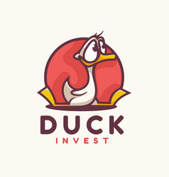 Logo duck simple mascot style vector