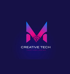 M initial letter logo design with digital pixels vector