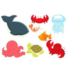 marine animals cartoon vector image