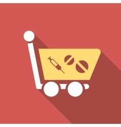 Medication Shopping Cart Flat Square Icon with vector