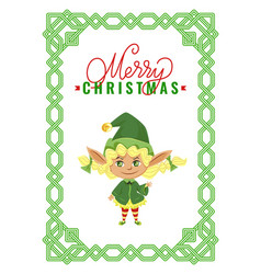 Merry christmas elf greet with winter holidays vector