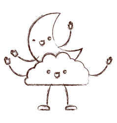 Moon and cloud kawaii caricature in blurred brown vector