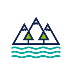 mountain forest and ocean logo design vector image
