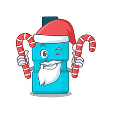 mouthwash dressed in santa with christmas candies vector image