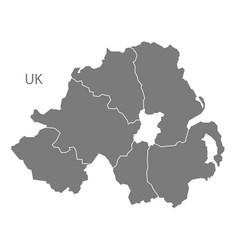 Northern ireland map with counties grey vector