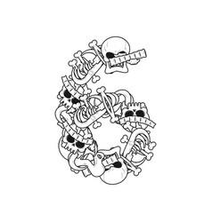 number 6 skeleton bones font six anatomy of an vector image