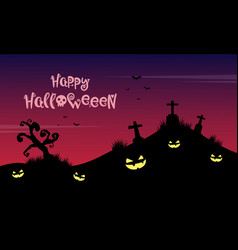 on the grave halloween background vector image