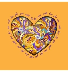 Orange painted peacock feathers heart design Love vector
