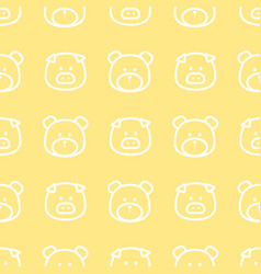 pig and bear line pattern vector image