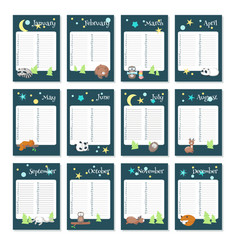 Planner calendar template with sleeping vector
