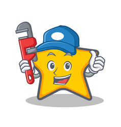 Plumber star character cartoon style vector