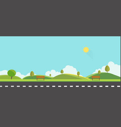 public park with bench with sky background vector image