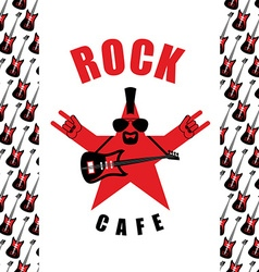 Rock Cafe Logo template for music rock bar Star vector