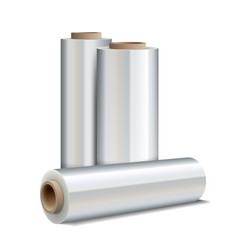 Roll wrapping plastic stretch film vector