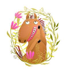 Romantic horse in flowers wreath cartoon vector