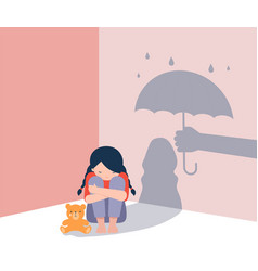 sad little girl with teddy bear sitting on floor vector image
