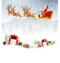 Santa claus boarded a deer sledbackground scener vector