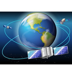 Satellites surrounding the planet Earth vector