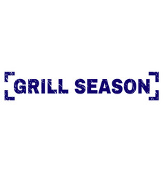 Scratched textured grill season stamp seal between vector