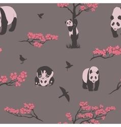 Seamless pattern of sakura tree and panda vector