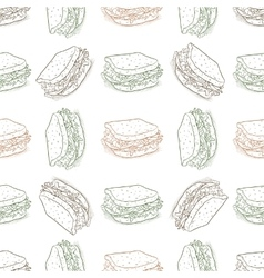 Seamless pattern sandwich scetch vector