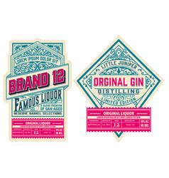 set 2 vintage labels layered vector image