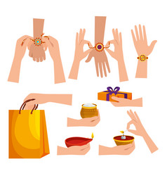 Set hindu event with bracelets and presents vector