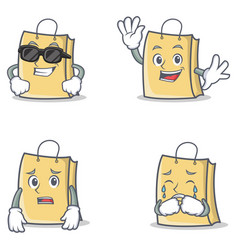 set of bag character with cool waving afraid vector image