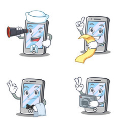 Set of iphone character with sailor menu waiter vector