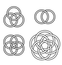 set patterns intertwined rings logo tattoo vector image