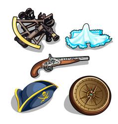 Set pirate hat gun and antique compass vector