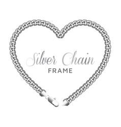 silver chain heart love border frame template vector image