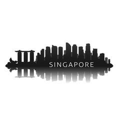singapore skyline silhouette in black vector image