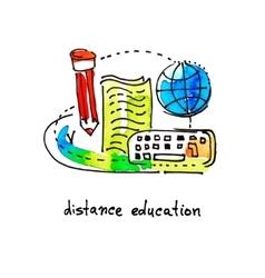Sketch watercolor icon design distance education vector