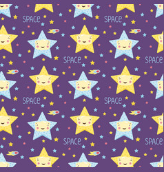 Smiling stars in space cartoon seamless pattern vector