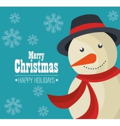 snowman merry christmas design isolated vector image