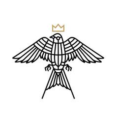 swallow bird monoline logo icon vector image