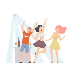 three friends incendiary dancing at a nightclub vector image