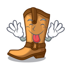 tongue out leather cowboy boots shape cartoon vector image