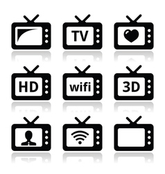TV set 3d HD icons vector image