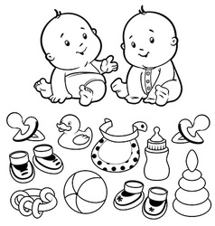 Two toddler with baby items on a white bac vector image