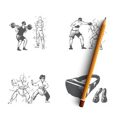 vr sports - home gym sport games martial vector image