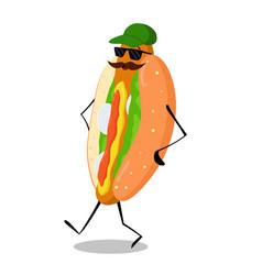 Walking hot dog vector