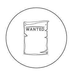 Wanted icon outline singe western icon from the vector